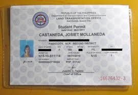 Sample LTO Student Permit